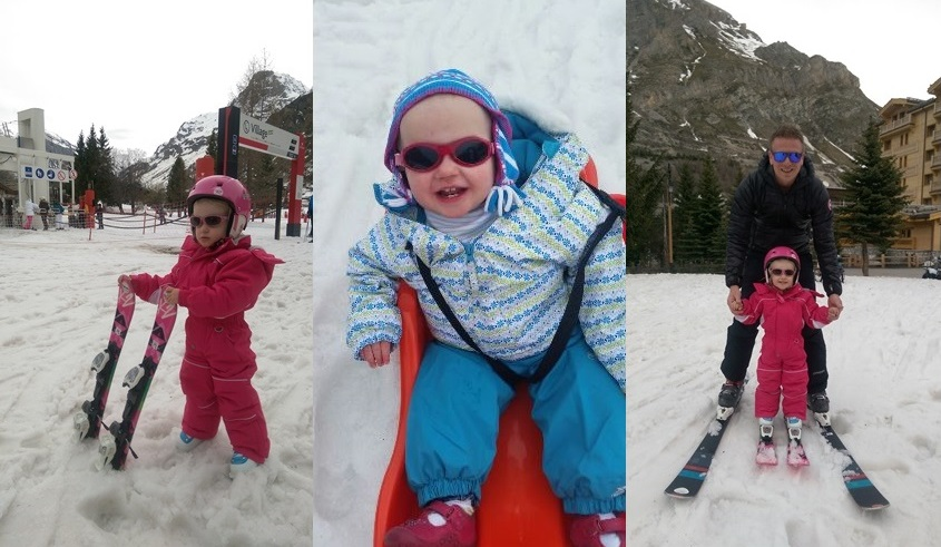 Beatrice and Sienna enjoying Val d'Isere