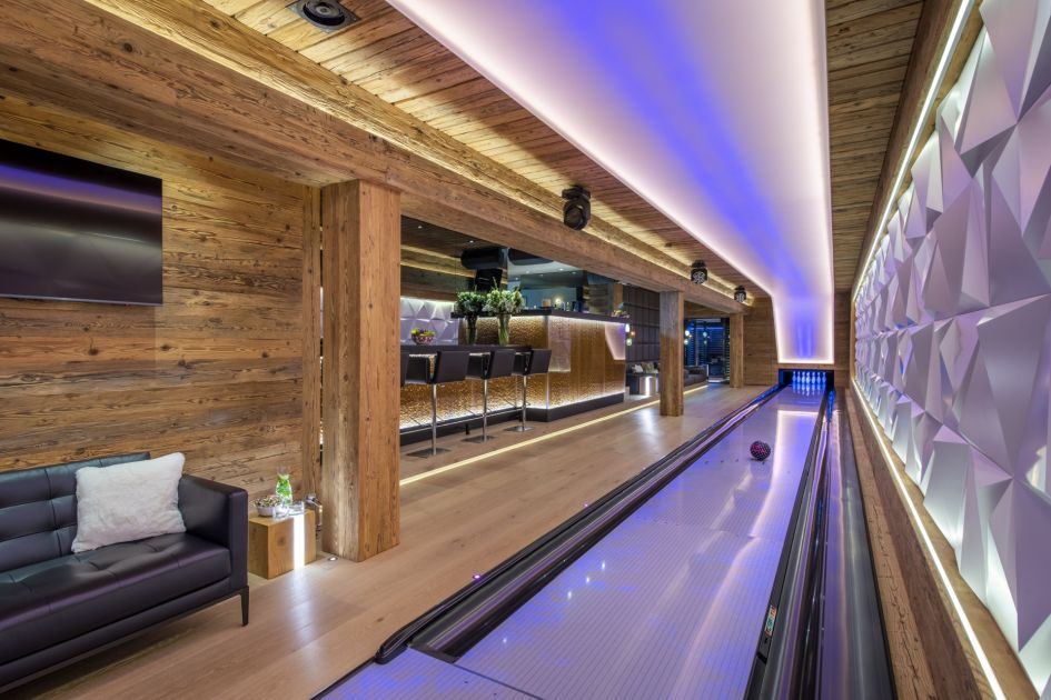 luxury chalet in Verbier, luxury chalets in Switzerland, Verbier chalet with a swimming pool, Verbier chalet with a games room, Verbier chalet with a bowling alley