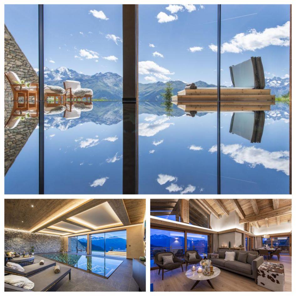 indoor swimming pool, luxury spa, mountain views, outdoor hot tub, luxury ski chalet