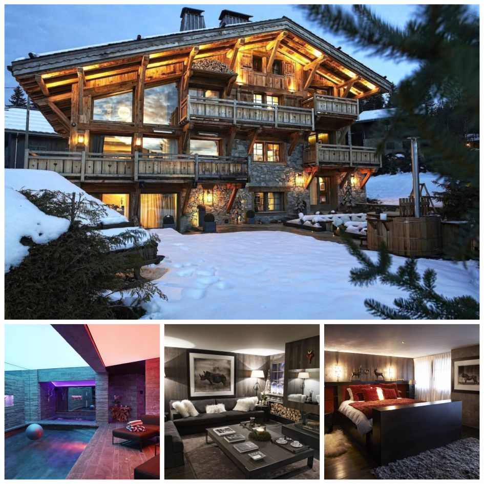 Megeve luxury ski chalet, luxury indoor swimming pool, modern interior design, wooden luxury chalet, Chalet Dana
