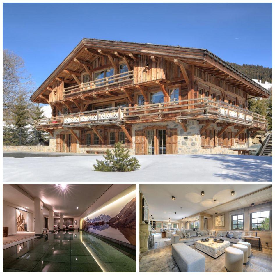 Megeve luxury chalet, traditional luxury chalet, Chalet Izoard, wellness spa, luxury indoor swimming pool