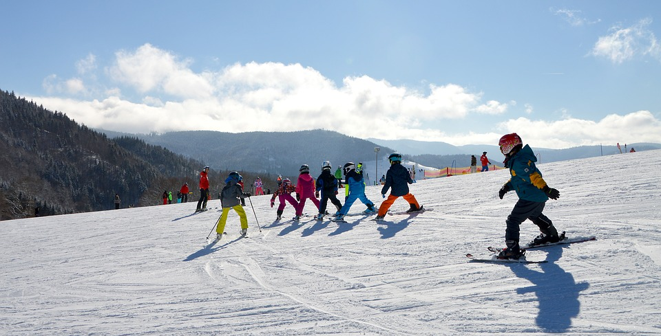 Ski school, children, ski trail