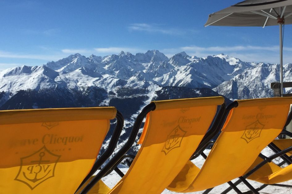 Deckchairs on the mountain at Ice Cube, Verbier