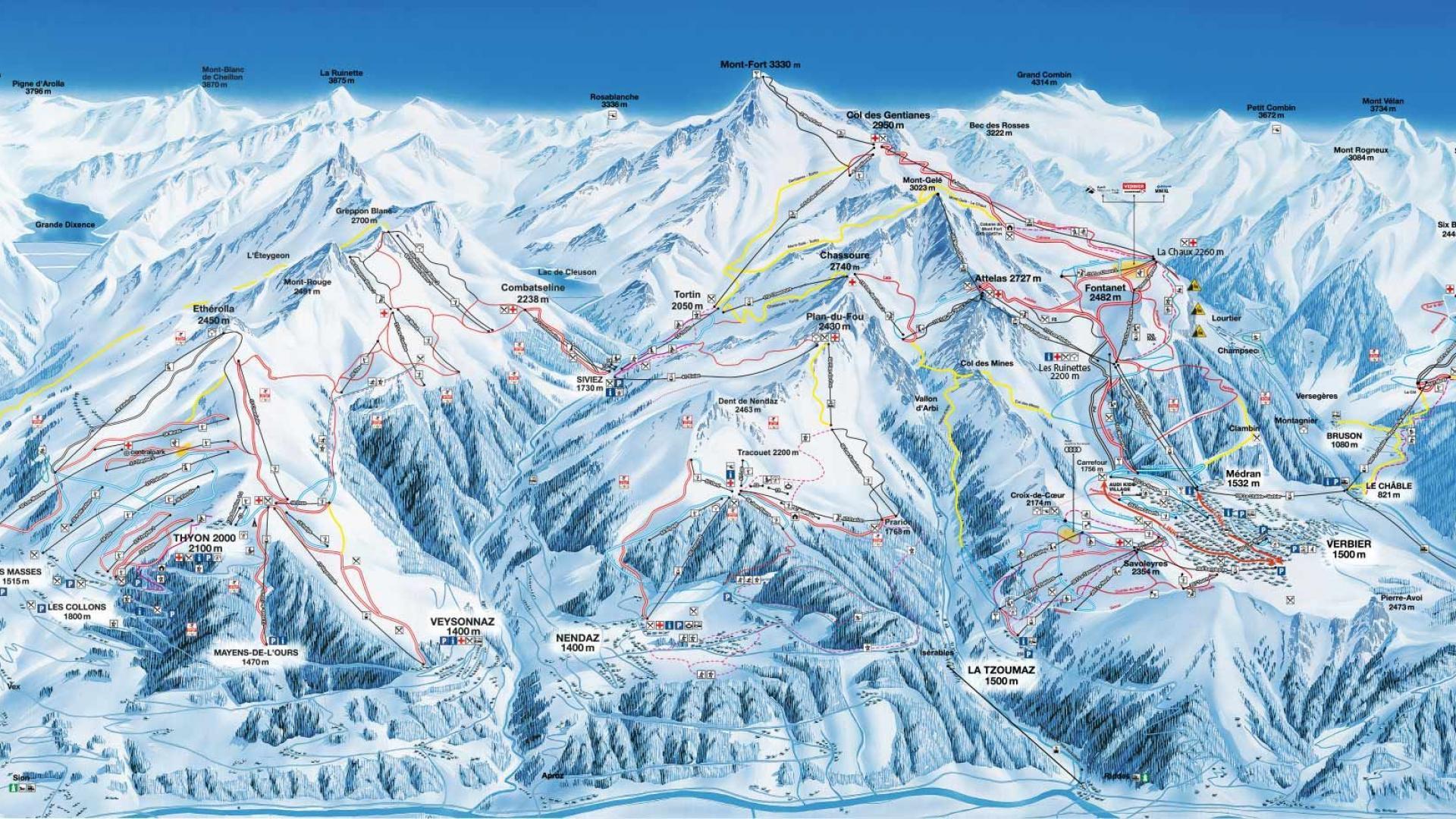 skiing in Verbier, Verbier piste map