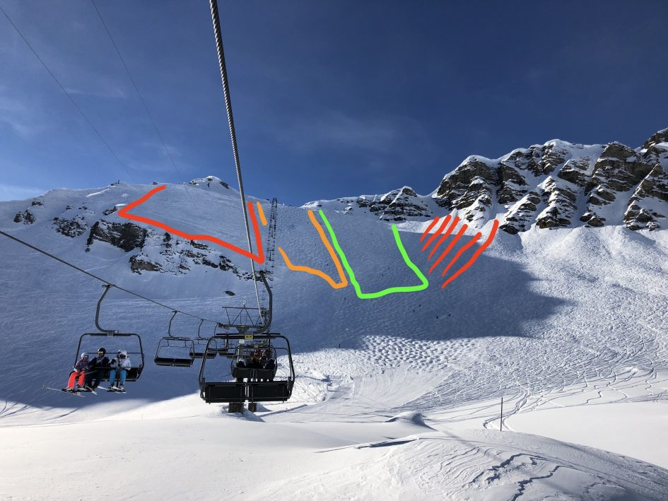 Icy ski conditions. Hard ski conditions. Skiing the Swiss Wall. Tips to ski the Swiss Wall.