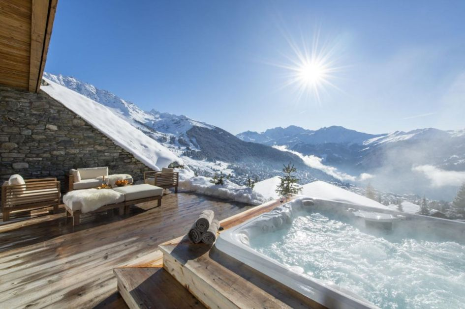 verbier chalet with a hot tub, chalet with a hot tub in verbier, verbier ski chalets