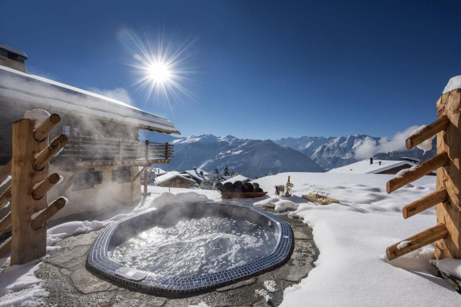 verbier chalets with a hot tub, catered ski chalets in verbier, luxury ski chalets in verbier, verbier chalet with a hot tub