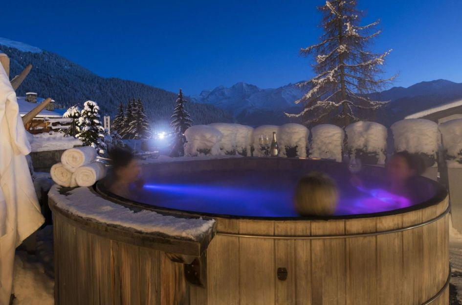 verbier ski chalets, ski chalets in verbier, catered ski chalets in switzerland, verbier chalets with a hot tub