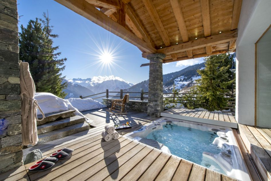 verbier chalets with a hot tub, chalet with a hot tub in verbier, verbier ski chalets